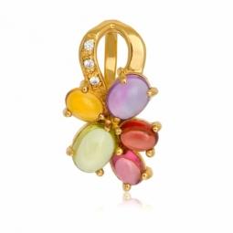 Pendentif en or jaune, améthyste, péridot, citrine, tourmaline rose, grenat, diamants