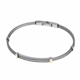 Bracelet en acier et or jaune