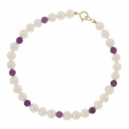 Bracelet en or jaune, perles de culture et améthystes