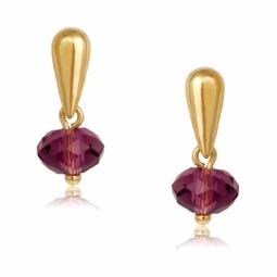 Boucles d'oreilles en or jaune et cristal de synthèse