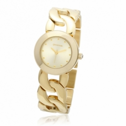 Montre dame, boîte et bracelet en acier doré