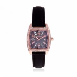 Montre dame, boîte acier doré rose, bracelet cuir, cristaux de synthèse, verre minéral