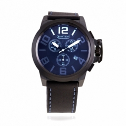 Chronographe homme, boîte acier noir, bracelet cuir et verre minéral