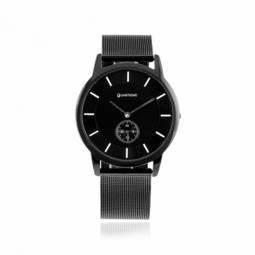 Montre homme, boîte et bracelet en acier noir et verre minéral