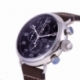Chronographe homme, boîte acier, bracelet cuir, verre minéral - B