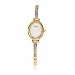 Montre dame, boite et bracelet en acier et acier doré, cristaux de synthèse et verre minéral