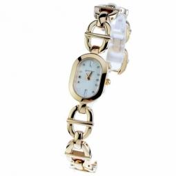 Montre dame, boîte acier doré, bracelet acier doré et verre minéral