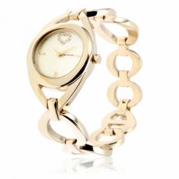 Montre dame, boite et bracelet en acier doré, cristaux de synthèse et verre minéral