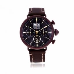 Chronographe homme, boîte acier marron, bracelet cuir, verre minéral