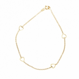 Bracelet en or jaune coeurs