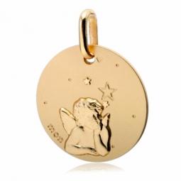 Médaille ronde en or jaune, motif ange