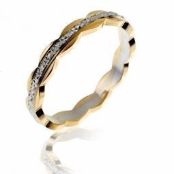Alliance en 2 ors diamantée , largeur 3 mm