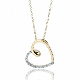 Collier or jaune coeur rhodie diamants