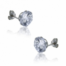Boucles d'oreilles en or gris, oxyde de zirconium.
