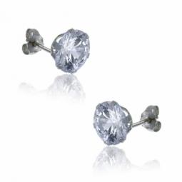 Boucles d'oreilles en or gris, oxyde de zirconium