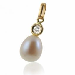 Pendentif en or jaune,  perle de culture 8 - 8,5mm et diamant
