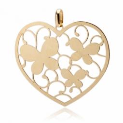 Pendentif en or jaune, coeur découpé papillons