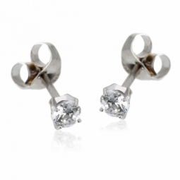 Boucles d'oreilles en or gris, oxyde de zirconium (petit modèle)