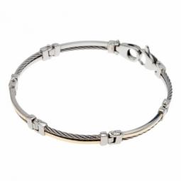 Bracelet or jaune et cables acier alternés