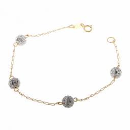 Bracelet en or jaune, boules en résine et cristaux de synthèse