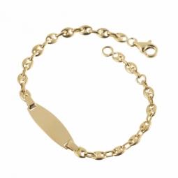 Bracelet identité en or jaune, maille grain de café
