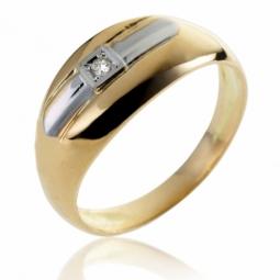 Bague en or jaune rhodié et diamant