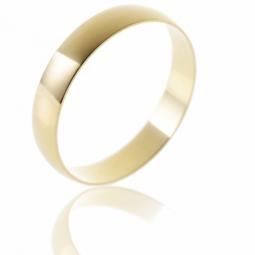 Alliance demi jonc en or jaune, largeur 4 mm