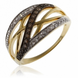 Bague ajourée en or jaune rhodié, diamants et diamants bruns