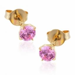 Boucles d'oreilles en or jaune, oxyde de zirconium rose.