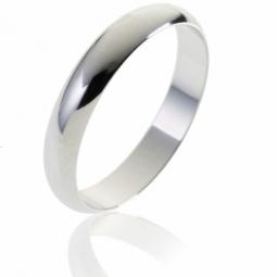 Alliance demi jonc en or gris, largeur 4 mm