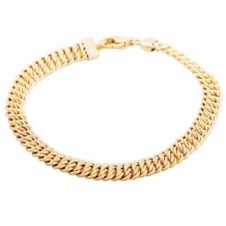 Bracelet en or jaune, maille américaine 6.2 mm - 6,6 mm