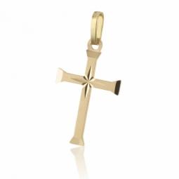 Croix en or jaune mate et lisse
