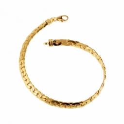 Bracelet en or jaune, maille haricot mate et lisse