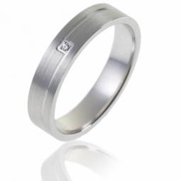 Alliance en or gris et diamant, largeur 4 mm