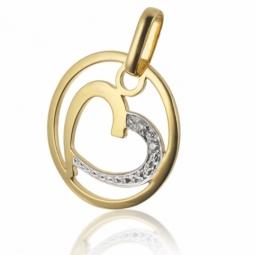 Pendentif en or jaune rhodié en forme de coeur et diamants