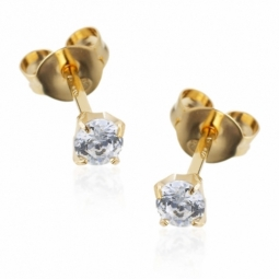 Boucles d'oreilles en or jaune, oxyde de zirconium (petit modèle).