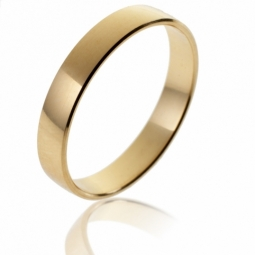 Alliance demi bombée en or jaune, largeur 4 mm