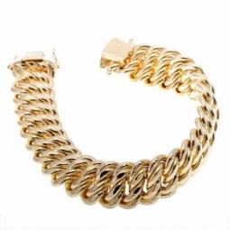 Bracelet en or jaune, maille americaine 15.5 mm - 15.9 mm