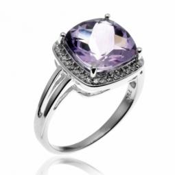 Bague en or gris, améthyste entourage diamants