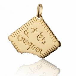 Pendentif or jaune forme biscuit , t'es à croquer