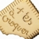 Pendentif or jaune forme biscuit , t'es à croquer - B