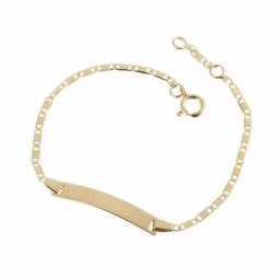 Bracelet identité en or jaune, maille marine