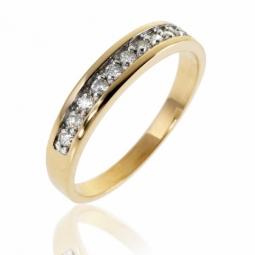 Demi alliance en or rhodié et diamants