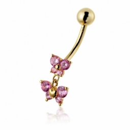 Piercing de nombril papillon en or jaune et oxydes de zirconium rose