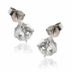 Boucles d'oreilles en or gris, oxyde de zirconium (grand modèle).