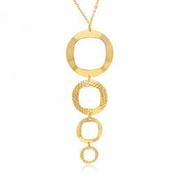 Collier en or jaune et pendentifs lisses et martelés