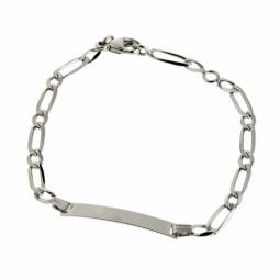 Bracelet identité en or gris, maille cheval alternée 1X1