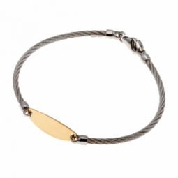 Bracelet identité bébé en or jaune et acier