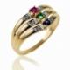 Bague en or jaune rhodié, saphir, rubis, émeraude et diamants - A