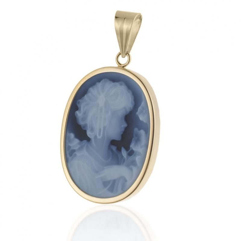 Achat Pendentif en or jaune et camée en agate bleue